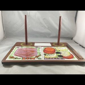 Lox 'n Bagels Cutting Board and Holder with Knife